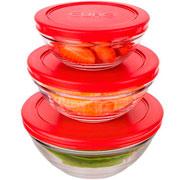 Conjunto potes de vidro redondo com tampa vermelho 03 peças - Euro