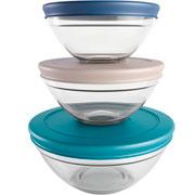 Conjunto potes de vidro redondo com tampa colors 03 peças - Euro