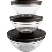 Conjunto potes de vidro redondo com tampa preto 03 peças - Euro