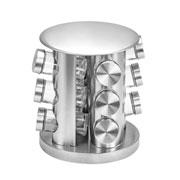Porta condimento Inox com suporte girátorio 12 peças - Euro