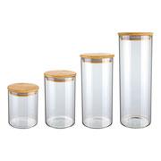 Jogo de potes de vidro com tampa bambu slim 04 peças - Euro