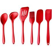 Conjunto de utensílios de silicone vermelho 07 peças - Euro