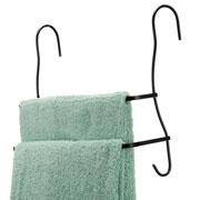 Porta toalha preto de banho duplo