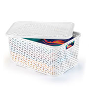 Caixa mosaico com tampa 16 litros branca