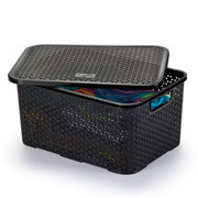 Caixa mosaico com tampa 16 litros preto