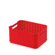 Caixa rattan vermelho 18x13cm