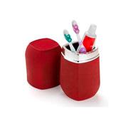Porta escovas e pasta com tampa Conceito vermelho e cromado 20 cm