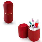 Porta escovas e pasta com tampa Conceito vermelho e rose 20 cm
