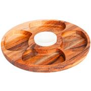 Petisqueira teca redonda com pote em porcelana 35 cm