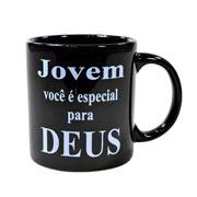 Caneca de cerâmica evangelho Jovem você é especial para Deus 300 ml