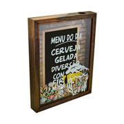 Quadro porta tampinhas de madeira menu do dia 37x27 cm