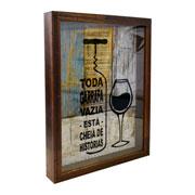 Quadro porta rolha de madeira toda garrafa 42x32 cm