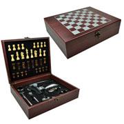 Kit para Vinho Jogo Xadrez com maleta 09 peças