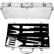 Kit churrasco maleta em alumínio e aço com 04 peças