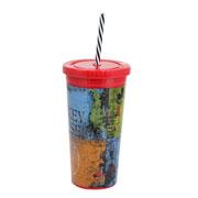 Copo plastico com canudo disney 600 ml