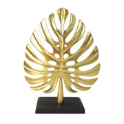 Enfeite folha em metal dourada 34 cm