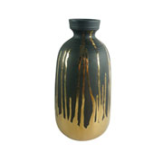 Vaso de cerâmica pintura dourada 31 cm