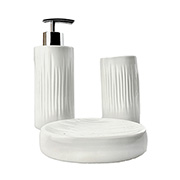 Jogo para banheiro em cerâmica branco 03 peças