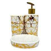 Jogo para banheiro em cerâmica branco/dourado 03 peças