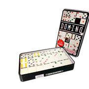 Jogo de dominó com estojo de lata  28 peças 10,5 mm