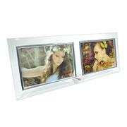 Porta retrato de vidro reto para 02 fotos 15x10 cm