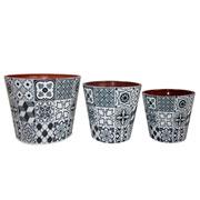 Conjunto de cachepots ceramica cinza e branco 03 peças