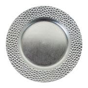Sousplat craquelado prata 33 cm