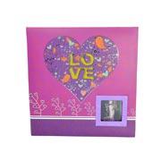 Álbum com memo e visor pink love para 200 fotos 10x15 cm