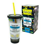 Copo com canudo LED Quem tem amigos 500 ml