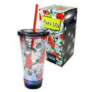 Copo com canudo LED caveira 500 ml