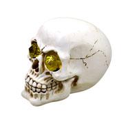 Enfeite de caveira olho amarelo 11 cm
