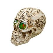 Enfeite de caveira olho verde 11 cm