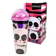 Copo com canudo panda 750 ml