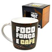 Caneca de cerâmica foco força e café 390 ml