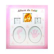 Álbum de bebe dentinho rosa para 60 fotos 15x21 cm