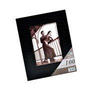 Álbum capa couro preto com visor 100 fotos 13x18cm