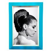 Porta retrato azul com filete prata