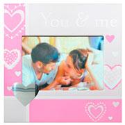 Porta retrato de aluminio youme rosa  horizontal 10x15