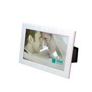 Porta retrato de aluminio filete rosa c/gravata de veludo 10x15