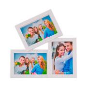 Porta retrato branco 10x15 para 03 fotos