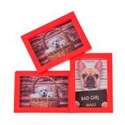 Porta retrato vermelho 10x15 para 03 fotos