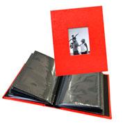 Álbum vermelho com visor para 100 fotos 10x15 cm