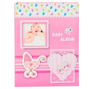 Álbum carrinho de bebê rosa para 100 fotos 10x15 cm