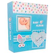 Álbum carrinho de bebê azul para 100 fotos 10x15 cm