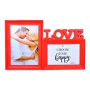 Porta retrato duplo love vermelho 10x15 e 15x20 cm