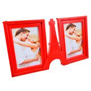 Porta retrato duplo vertical Paris vermelho 10x15cm