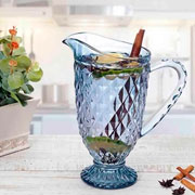 Jarra de vidro bico de abacaxi azul 1.1 Litros