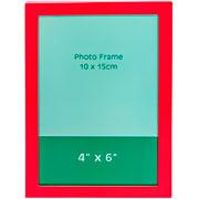 Porta retrato de metal liso vermelho 10x15 cm
