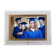 Porta retrato de vidro horiz filete dourado 13x18 cm