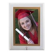 Porta retrato de vidro vert filete dourado 13x18 cm